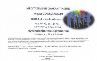 Meditatiivisen Chakratanssin  / Mindfulnesstanssin ohjaaja koulutus 29-30.7.17
